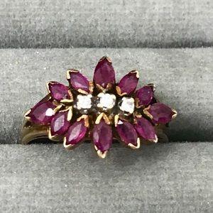 14k estate ruby diamond ring